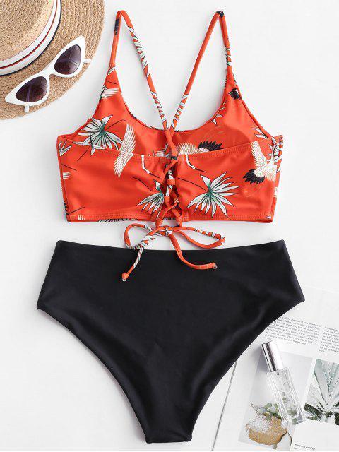 womens ZAFUL Crane Print Lace Up Mix and Match Tankini Swimwear - MULTI-A S Mobile