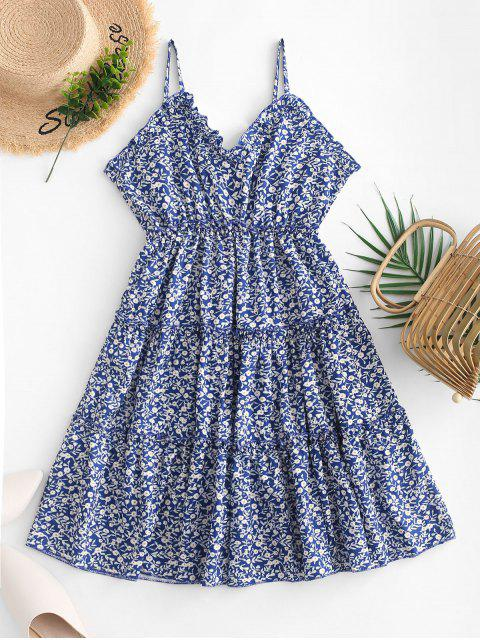 lady Empire Waist Tiny Floral Flared Cami Dress - BLUE XL Mobile