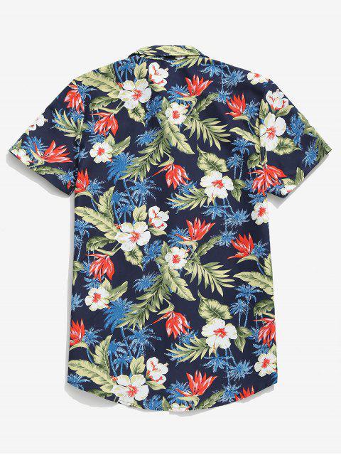 النباتات الاستوائية زهرة النخيل شجرة طباعة هاواي قميص عارضة - ازرق غامق 3XL Mobile