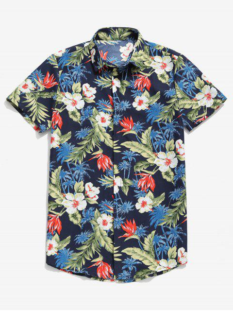 lady Tropical Plant Flower Palm Tree Print Hawaii Casual Shirt - DEEP BLUE M Mobile