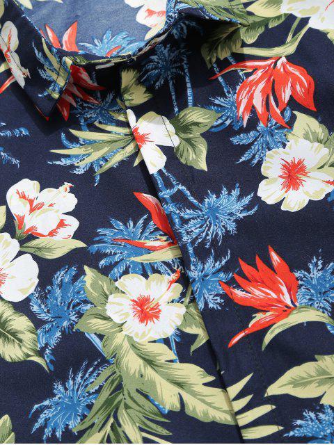 Chemise décontractée à Hawaii avec imprimé de palmiers et de plantes tropicales - Bleu profond XL Mobile
