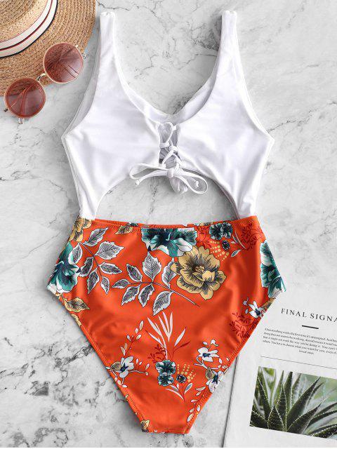 buy ZAFUL Floral Leaf Knot Cutout One-piece Swimsuit - PAPAYA ORANGE S Mobile