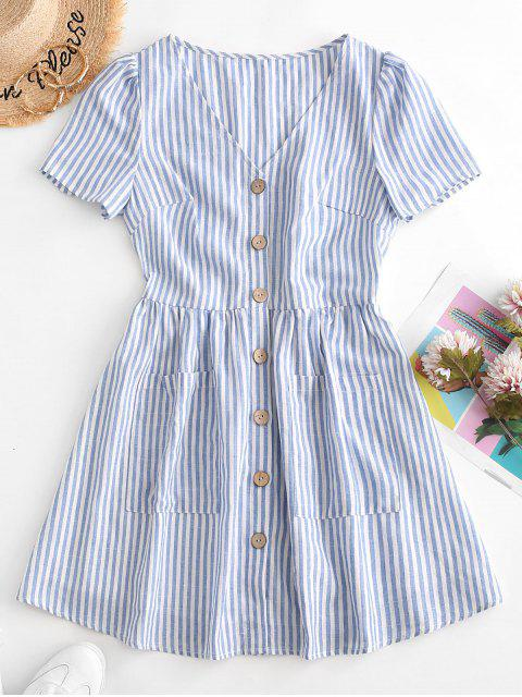 sale ZAFUL Button Down Striped Smock Dress - LIGHT BLUE S Mobile