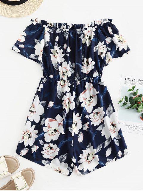 outfit ZAFUL Floral Frilled Off The Shoulder Romper - LAPIS BLUE M Mobile