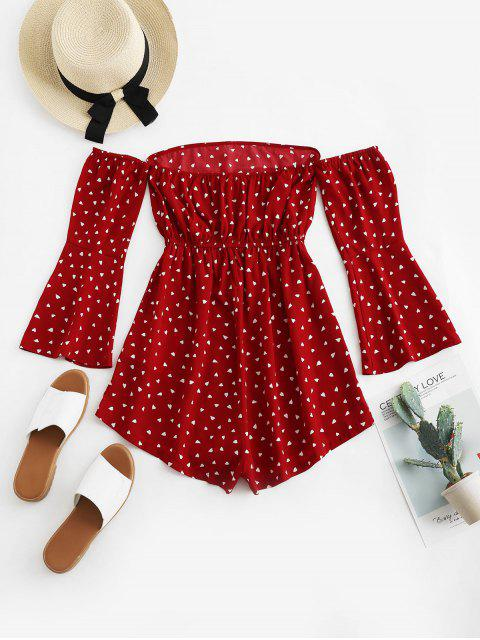 fashion ZAFUL Hearts Print Off Shoulder Flare Sleeve Romper - RED WINE M Mobile
