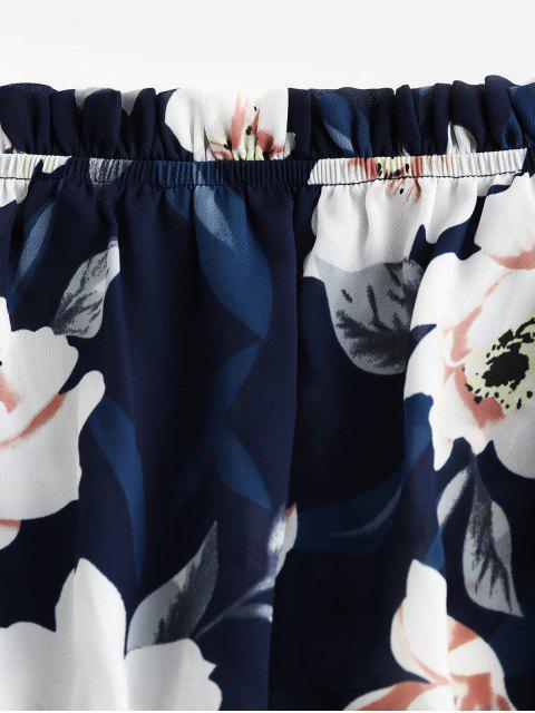 ZAFUL Barboteuse Fleurie à Epaule Dénudée à Volants - Bleu Lapis S Mobile