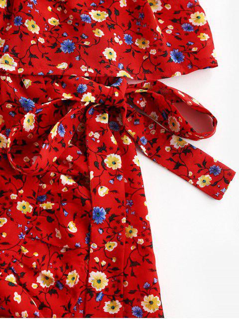 ZAFUL Robe Bandeau Fleurie Superposée à Volants - Rouge M Mobile
