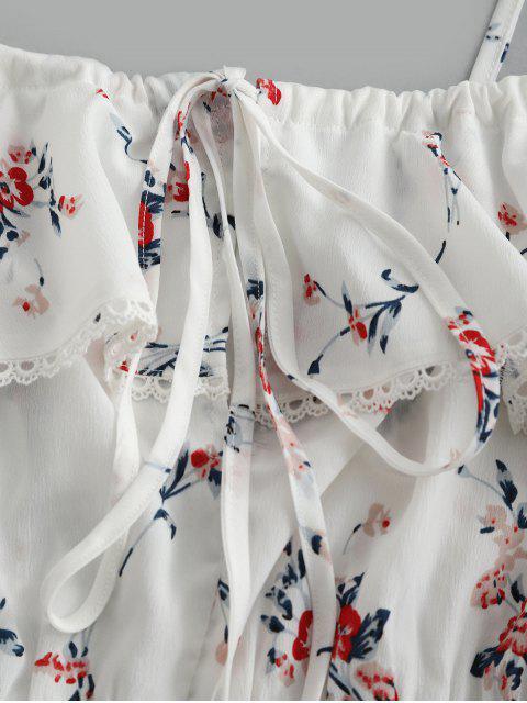 ZAFUL Grenouillère à bordures en dentelle à imprimé fleuri - Blanc S Mobile
