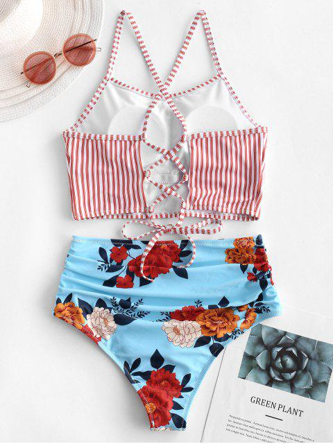 ladies ZAFUL Lace-up Ruched Striped Floral Tankini Swimsuit - LAVA RED S Mobile