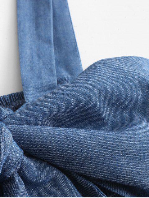 ZAFUL Ensemble deux pièces en chambray froncé à nouer - Bleu Toile de Jean S Mobile