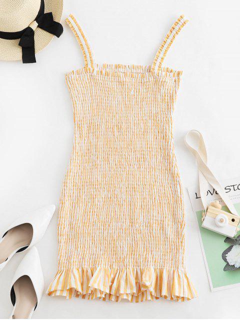 ZAFUL Robe moulante à volants et rayures - Jaune Soleil XL Mobile