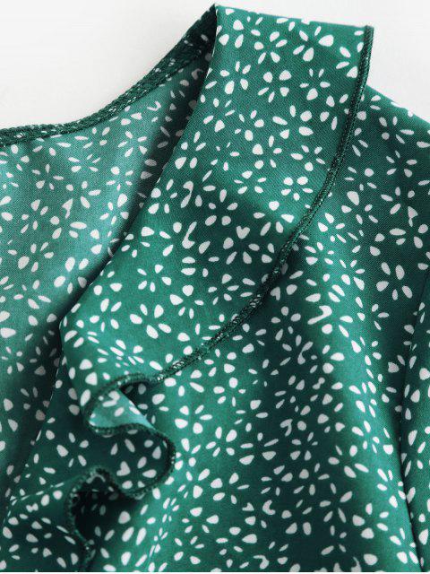 ZAFUL Mini-Robe Plongeant Noué Fleurie Imprimée à Volants - Bleu Verdâtre S Mobile