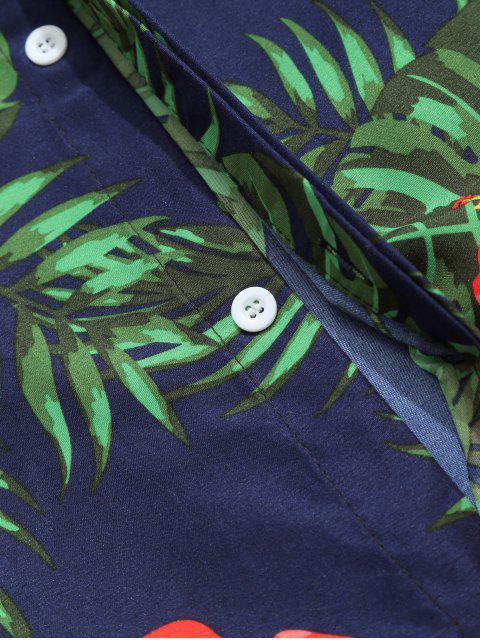 Chemise décontractée à fleurs hawaïennes à imprimé feuille de fleurs tropicales - Bleu profond M Mobile