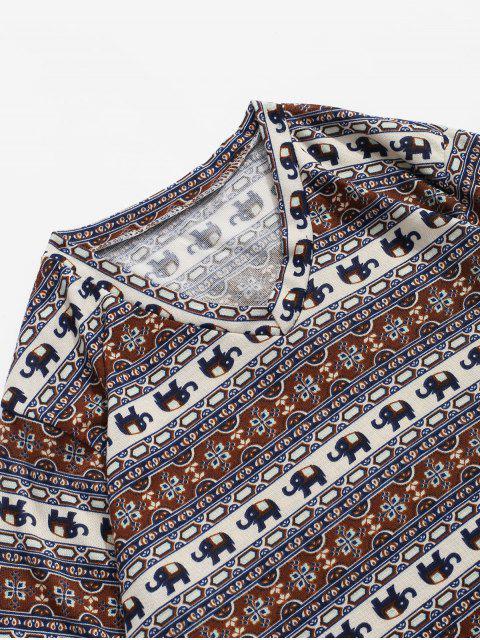 T-shirt bohémien à imprimé géométrique à fleurs éléphant - Multi 2XL Mobile