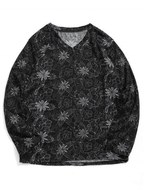 T-shirt Fleur Imprimée Manches Longues à Col V - Multi 2XL Mobile