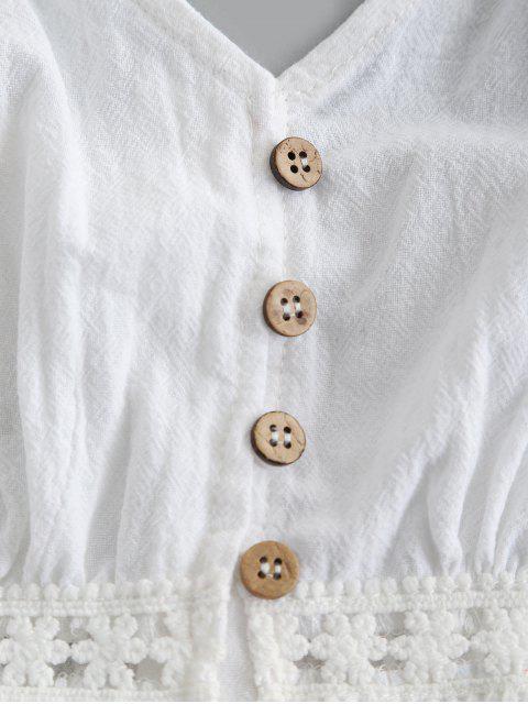 Haut à Bretelle Boutonné Panneau au Crochet à Volants - Blanc S Mobile