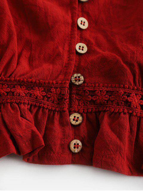 Haut à Bretelle Boutonné Panneau au Crochet à Volants - Châtaigne M Mobile