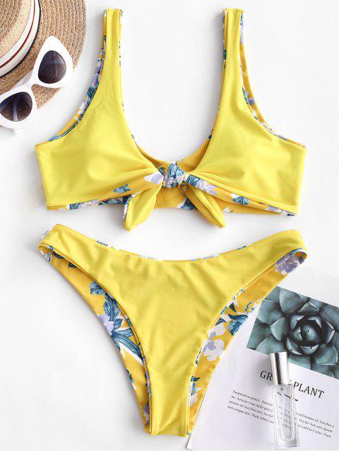ZAFUL Maillot de Bain Bikini Réversible Fleurie Nouée en Avant - Jaune Soleil M Mobile