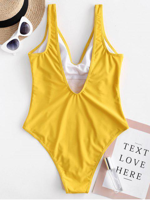 best ZAFUL Open Back Plunging One-piece Swimsuit - BRIGHT YELLOW S Mobile