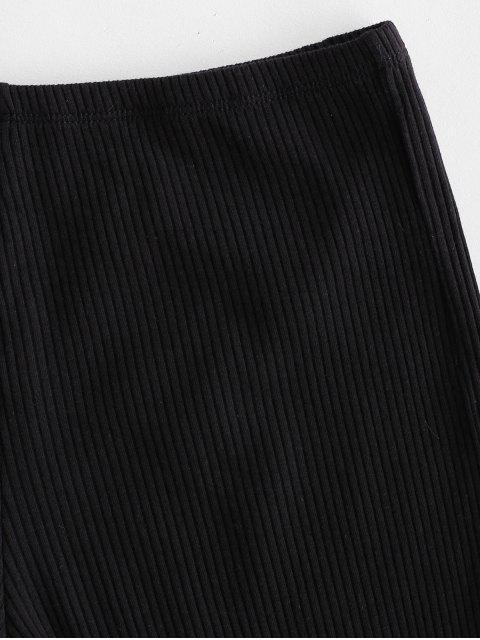 Short Côtelé à Ourlet en Laitue - Noir Taille Unique Mobile