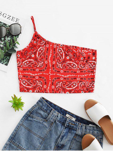 Crop top à une épaule et imprimé paisley - Châtaigne Rouge XL Mobile