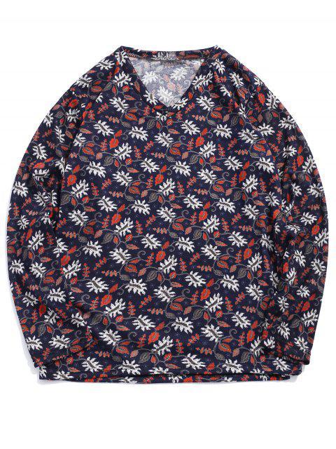 T-shirt Décontracté Fleur Plante Imprimées à Manches Longues - Multi-A XL Mobile