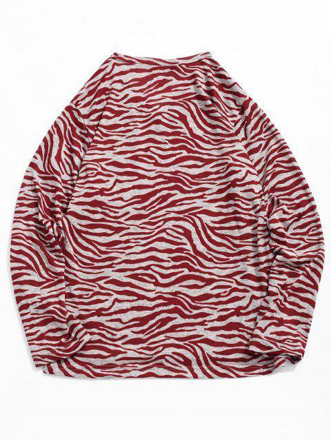 T-shirt Rayure Irrégulière Vague Imprimée à Col V - Châtaigne Rouge 2XL Mobile