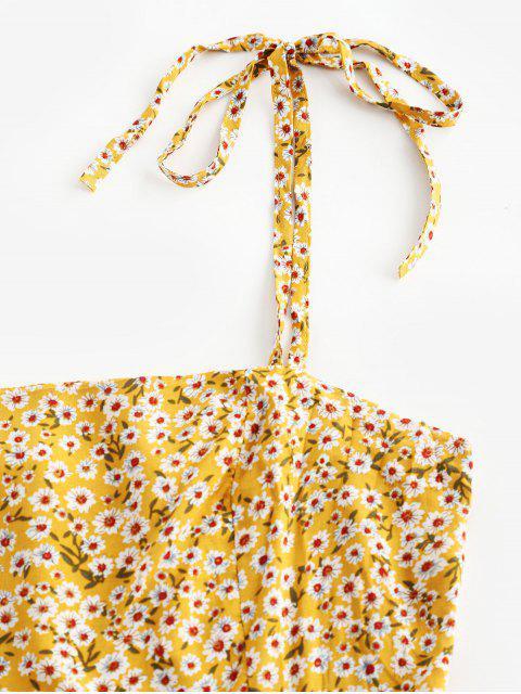 Mini Robe Fleurie à Bretelle Nouée - Jaune S Mobile