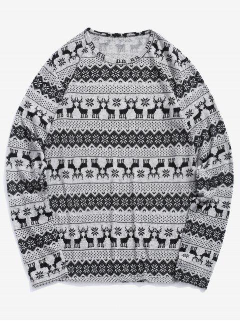 T-shirt à motif graphique en flocon de neige Christmas Elk - Oie grise L Mobile