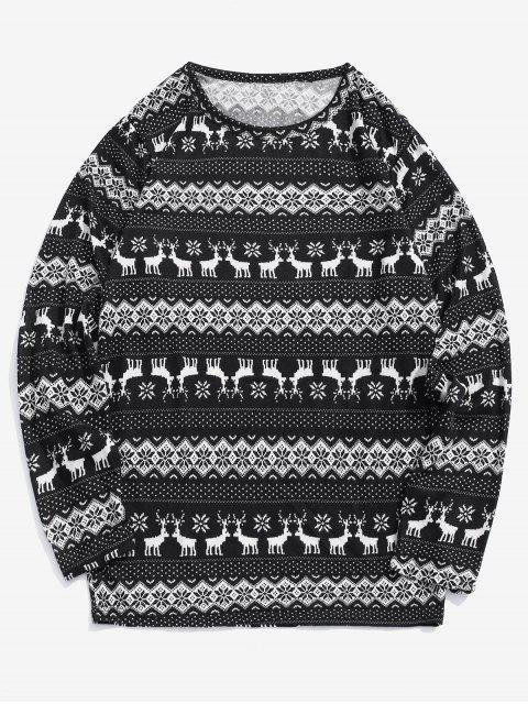 T-shirt à motif graphique en flocon de neige Christmas Elk - Noir L Mobile
