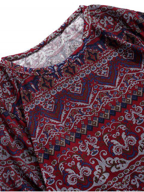 T-shirt Fleuri Géométrique Imprimé à Manches Longues Style Bohémien - Multi L Mobile