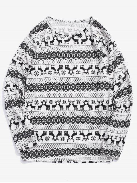 T-shirt Graphique Cerf de Noël Flocon de Neige Imprimé - Blanc L Mobile