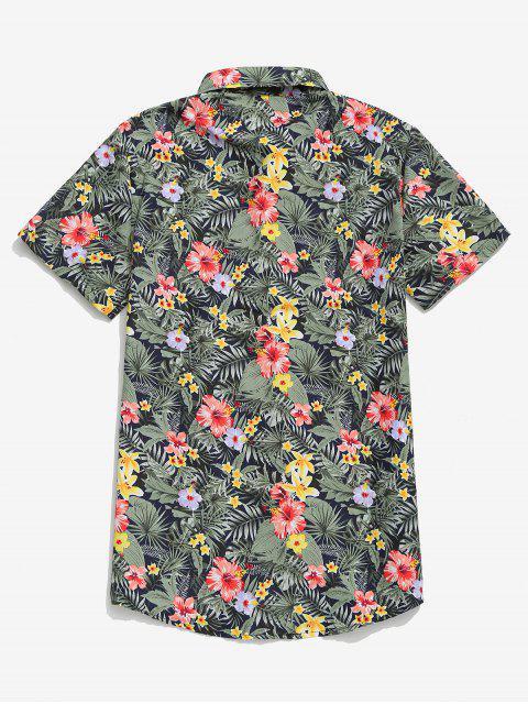 Chemise de plage Hawaii à manches courtes à imprimé tropical et feuilles - Multi-C 3XL Mobile
