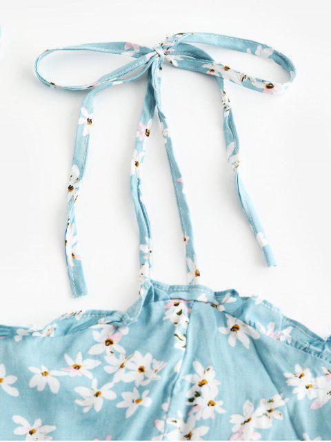 chic Floral Cami A Line Mini Dress - JEANS BLUE XL Mobile