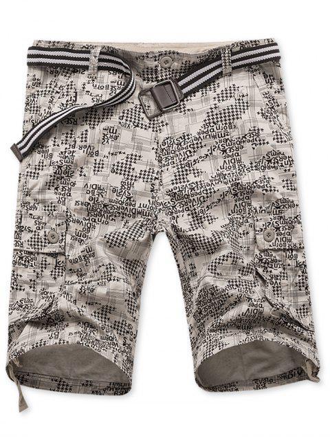 Pantalones cortos con estampado gráfico de carta geométrica de bolsillo con solapa lateral - Amarillo de Mazorca de Maíz 34 Mobile