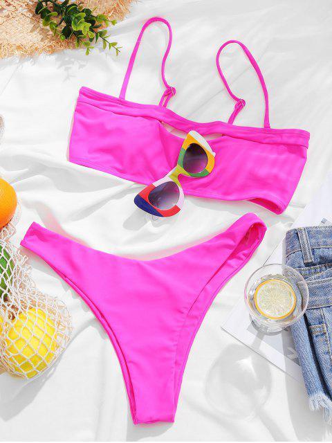 ZAFUL Maillot de Bain Bikini Bandeau Découpé à Jambe Haute - Magenta Dimorphotheca M Mobile