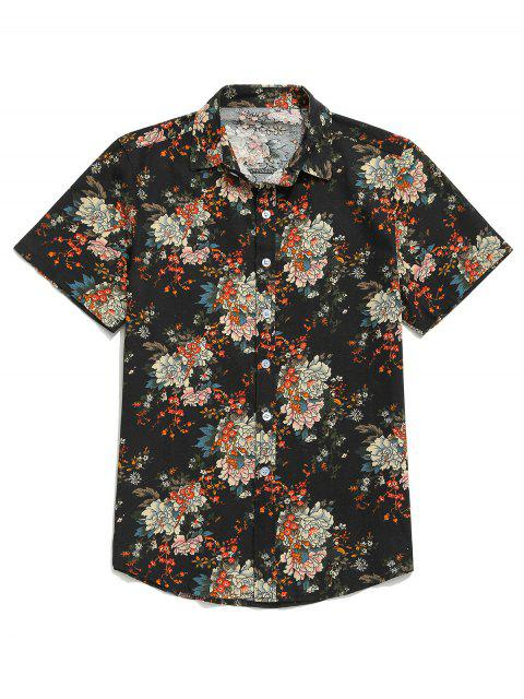 latest Flower Allover Print Short Sleeves Button Shirt - BLACK M Mobile