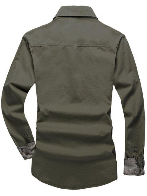 best Solid Color Chest Pocket Long Sleeves Button Shirt - ARMY GREEN S Mobile
