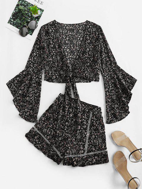 lady Flare Sleeve Knotted Floral Blouse and Flounce Shorts Set - BLACK M Mobile