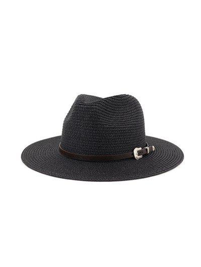 Belt Embellished Straw Outdoor Jazz Beach Hat - Black