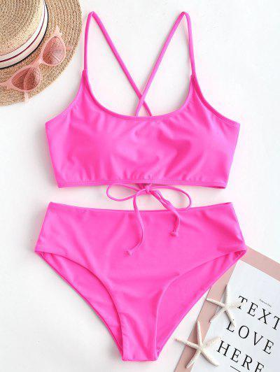 d0f7ff0f70e6e ZAFUL Lace Up Padded High Waisted Bikini Swimsuit - Neon Pink - Neon Pink  2xl ...