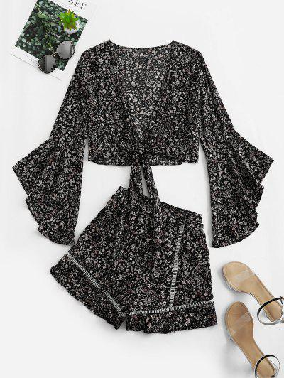 Flare Sleeve Knotted Floral Blouse And Flounce Shorts Set - Black L