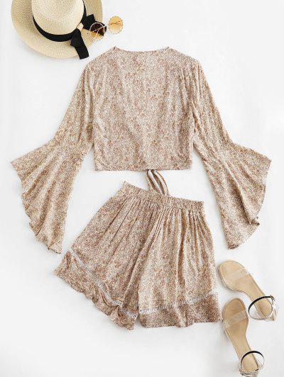 20f49c28c392 ... Flare Sleeve Knotted Floral Blouse And Flounce Shorts Set - Blanched  Almond S