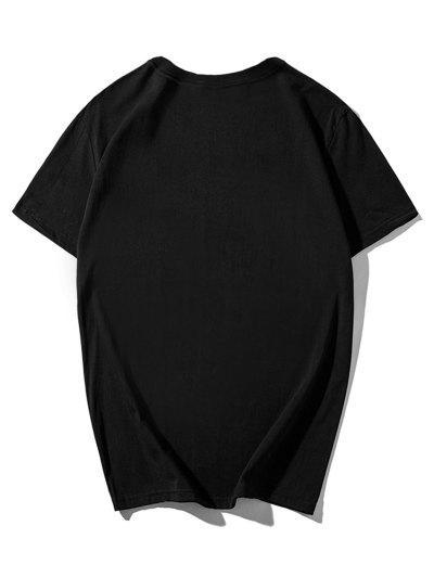 4edcf625 ... Striped Sailboat Nice Journey Print Short Sleeve T-shirt - Black S