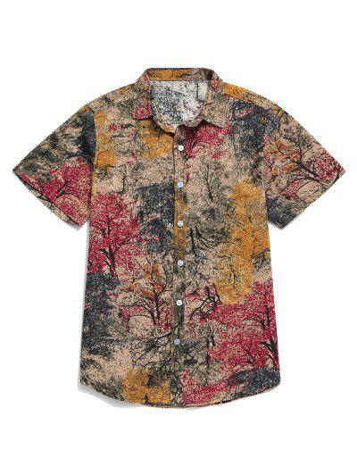 Chinese Colorful Ink Painting Print Button Shirt - Cherry Red L