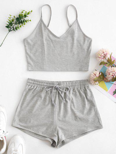 ZAFUL Solid Crop Cami Sports Two Pieces Suit - Gray Xl