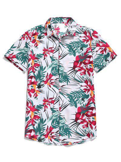 bd7c187736 Hawaii Flower Leaf Print Casual Beach Shirt - White L ...