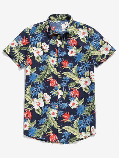 Camisa Casual Con Estampado De Flores Tropicales Con Estampado De Palma - Azul Profundo M