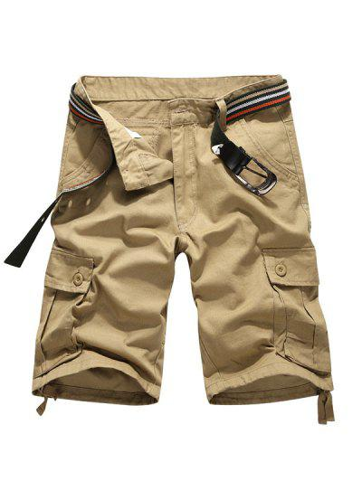 Zaful / Solid Color Button Flap Pocket Cargo Shorts