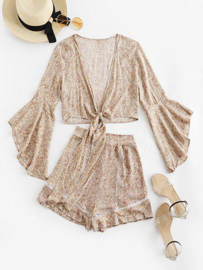 Flare Sleeve Knotted Floral Blouse And Flounce Shorts Set - Blanched Almond S